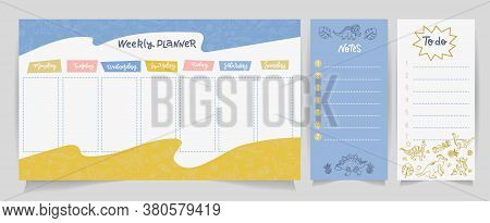 Weekly Planner, To Do List, Notes In Linear Doodle Flat Style With Cute Dinos. Set Of Digital Prints