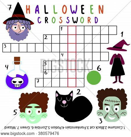 Amusing Halloween Children Crossword Stock Vector Illustration. Funny Word Puzzle Worksheet For Kids