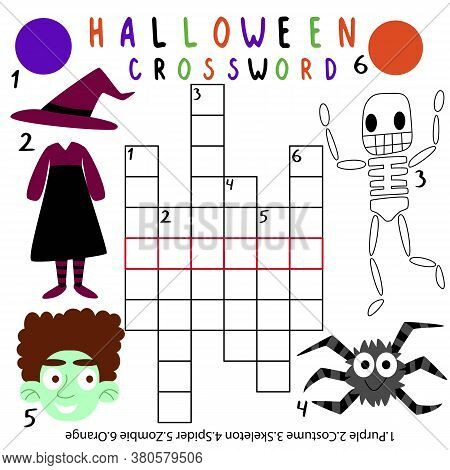Halloween Crossword With Answer Stock Vector Illustration. Amusing Crossword With Zombie, Costume, S
