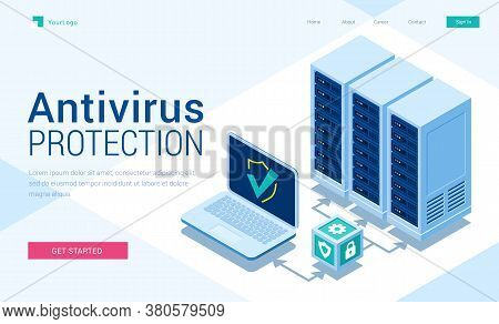 Antivirus Protection Isometric Landing Page. Cyber Data Security, Server Room Connected With Laptop