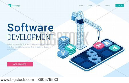 Software Development Banner. Concept Of Engineering And Programming Mobile Applications, Website Api
