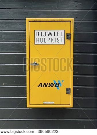 Gasselte, The Netherland - July 27, 2020: Dutch Anwb Bicycle Auxiliary Box.