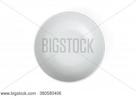 Empty Ceramic Round Plate Isolated On White Background. Top View