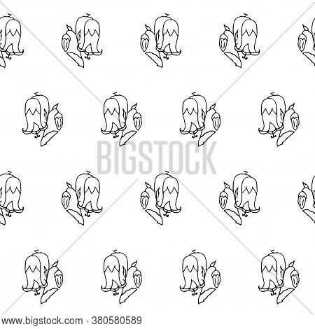 Bellflower Plant Sketch Seamless Pattern. Hand Drawn Ink Art Design Object Isolated Stock Vector Ill