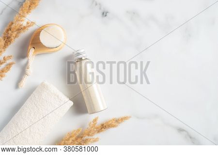 Spa Cosmetic Set With Ayurvedic Ubtan Face And Body Mask, Towel, Cleansing Brush On Marble Backgroun