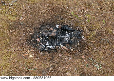 Remains Of Charcoal And Ash After Burning The Fire.