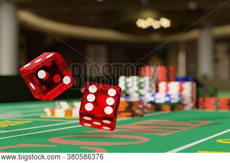Close Up Of A Pair Of Dice Rolling Down A Craps Table. Selective Focus.gambling Concept. 3d Illustra