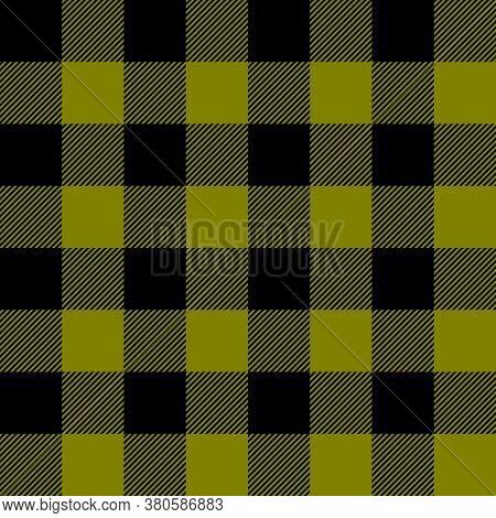Tartan Plaid. Scottish Pattern In Black And Olive Cage. Scottish Cage. Traditional Scottish Checkere