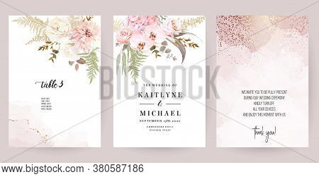 Dusty Pink And Ivory Beige Rose, Pale Hydrangea, Fern, Dahlia, Ranunculus, Fall Leaf Bunch Of Flower
