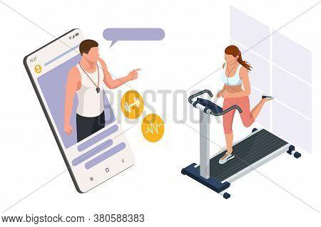 Running Simulator. Isometric Training Online, Woman In Sportswear Running On A Treadmill. Fitness An