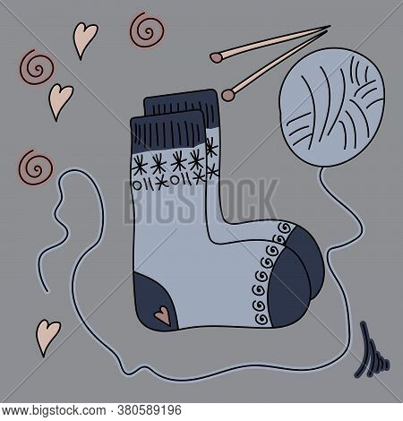 Cozy Knitted Socks, A Ball Of Thread And Knitting Needles, Comfortable Winter Clothes, Vector Hand D