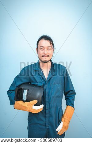 Construction Welding Worker Holding Constructing Equipment Tools On Isolated Background. Welder Man