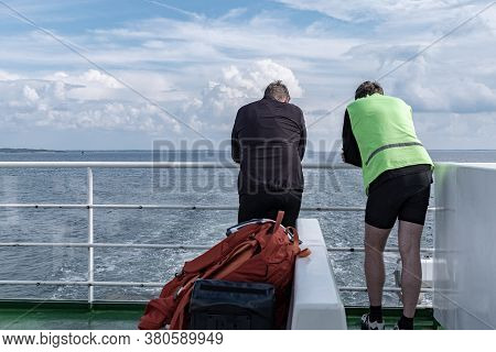 Two Men And A Girl Between Them, Tourists On A Large Ferry, Dream Of A Good Vacation Three Of Them A