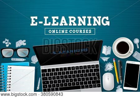 E-learning Online Education Vector Banner. E-learning Online Courses Text With Laptop Computer Devic
