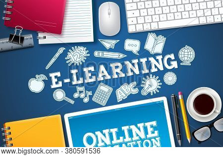 E-learning Online School Vector Banner. E-learning Text With Computer Elements And School Items In B