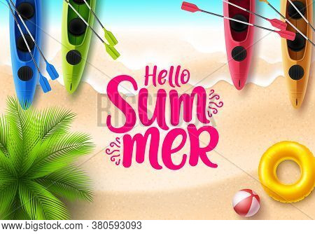 Hello Summer Vector Banner Design. Hello Summer Text With  Beach Top View And Beach Elements Like Co
