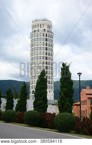 Nakhon Ratchasima, Thailand - 9 August 2020 : Toscana Piazza Is Inspired By The Leaning Tower Of Pis