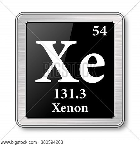 Xenon Symbol.chemical Element Of The Periodic Table On A Glossy Black Background In A Silver Frame.v
