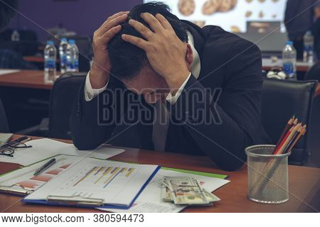 Unemployed Man From The Spread Of Covid-19 Feeling Tire And Headache. Stressed Businessman, Frustrat