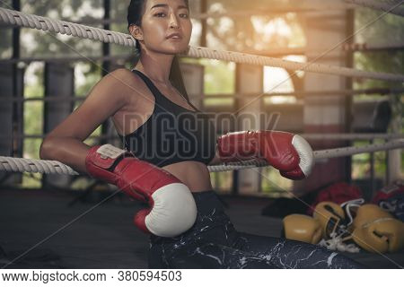 Muay Thai Woman And Healthy Concept. Boxing Women Prepare To Train Session And Kickboxing, Workout A