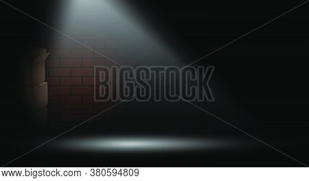 Bright Beam Illuminates Dark Alley In Big City. Way Out Of Difficult, Crisis Situation. Brick Wall I