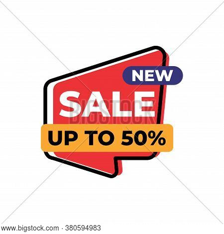 Up To 50% Sales Tag Vector Badge Template, 50% Sales Label Collection, Sale Sticker Emblems, Isolate