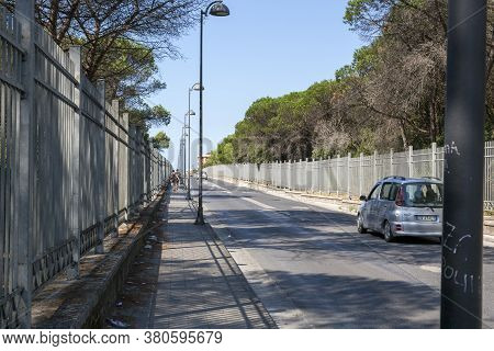 Castel Volturno, Italy - August 18, 2019: Road To The Sea In The City Of Castel Volturno In Italy