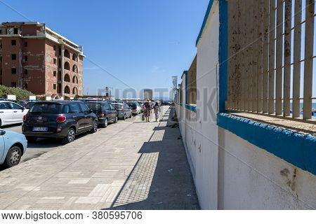 Castel Volturno, Italy - August 18, 2019: Embankment By The Sea In Castel Volturno In Italy