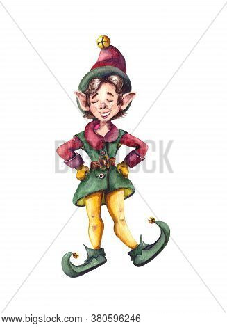 Watercolor Illustration.cute Christmas Little Elves Are Santas Helpers.isolated On A White Backgroun