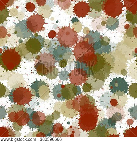 Watercolor Transparent Stains Vector Seamless Wallpaper Pattern. Vintage Ink Splatter, Spray Blots,