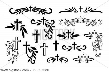 Funeral Ornamental Decorations. Vector Memorial Design Elements. Border, Divider, Ribbon, Frame And