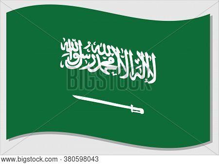 Waving Flag Of Saudi Arabia Vector Graphic. Waving Saudi Arabian Flag Illustration. Saudi Arabia Cou