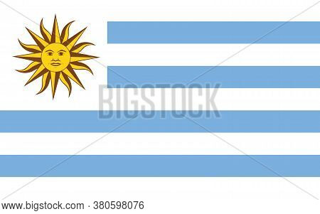 Uruguay Flag Vector Graphic. Rectangle Uruguayan Flag Illustration. Uruguay Country Flag Is A Symbol