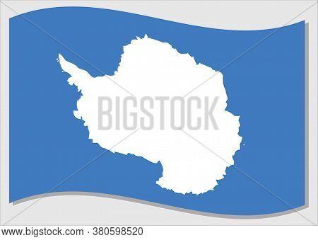 Waving Flag Of Antarctica Vector Graphic. Waving Antarctic Flag Illustration. Antarctica Country Fla