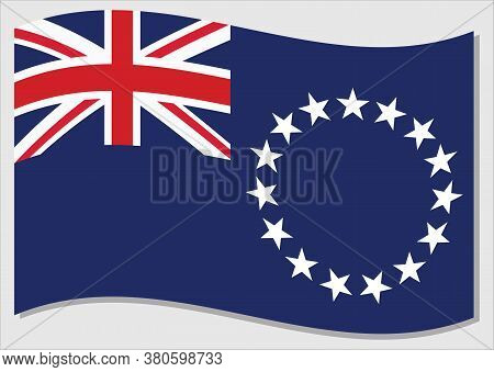 Waving Flag Of Cook Islands Vector Graphic. Waving Cook Islander Flag Illustration. Cook Islands Cou