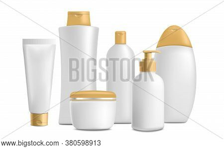 Cosmetic Bathroom Toiletries Realistic Mockup Set - Isolated Vector Illustration