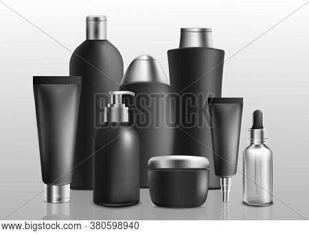 Black And Silver Realistic Toiletries Mockup Set - Shampoo, Shower Gel, Face Cream