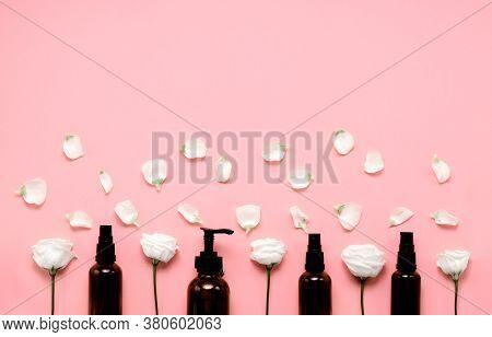 Delicate Skin Care Cosmetic Feminine Flatlay. Top View Creative Composition Of Face Cream , Glass Bo