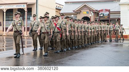 Charters Towers, Australia - April 25, 2019: Soldiers Of The 1st Battalion, Royal Australian Regimen