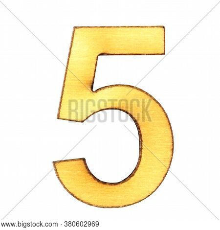Numeral Five From Wood Or Plywood On A White Background Close-up, Isolate.