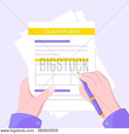 Hand Signs Claim Form Paper Sheets Isolated On Gray Background Flat Style Design Vector Illustration