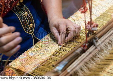 Hand weaving factory, Homemade hand weaving cotton Thailand background