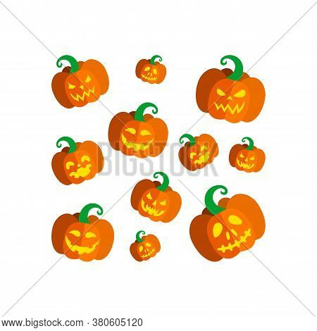 Carved Pumpkins For Halloween Party. Square Print With Spooky Halloween Pumpkins. Vector Illustratio