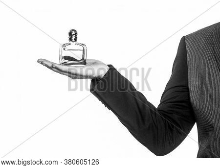 Masculine Perfume. Man Perfume, Fragrance. Male Holding Bottle Of Perfume, Isolated On White Backgro