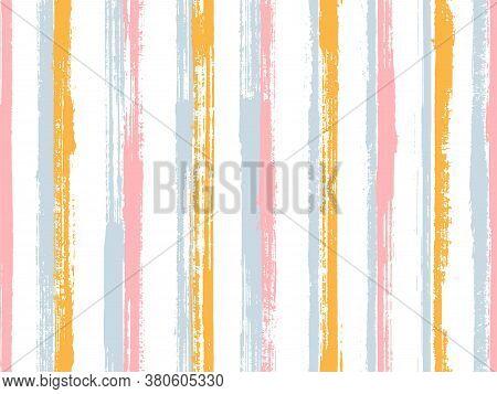 Pain Hand Drawn Rough Stripes Vector Seamless Pattern. Simple Maritime Shirt Textile Design. Scratch