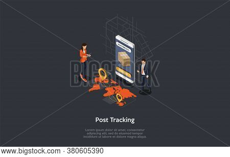 Postal Delivery Service, Parcel Tracking Concept. Tracking Number On A Smartphone Screen, Map With L