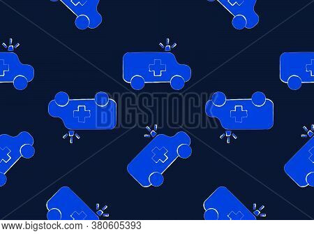 Ambulance Car Seamless Pattern Background, Blue Tone Image, Vector Illustration, Doodle Drawing.styl