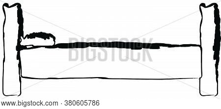 Flat Doodle Drawing Image Of Bed, Vector Illustration