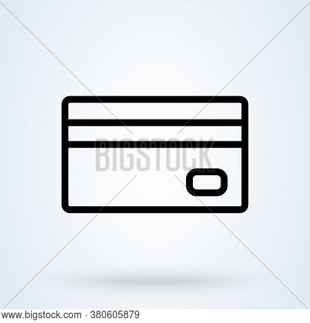 Debit Payment Icon In Linear. Payment With Credit Card Thin Line Icon, Vector Illustration.