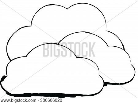 Flat Doodle Drawing Image Of Clouds, Vector Illustration